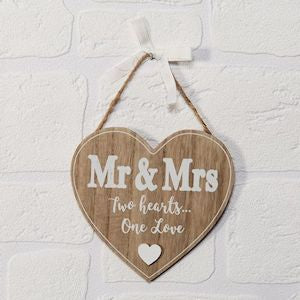 Love Story MDF Heart Plaque - Mr & Mrs