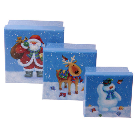 Set of 3 Jan Pashley Christmas Reindeer Square Paper Boxes