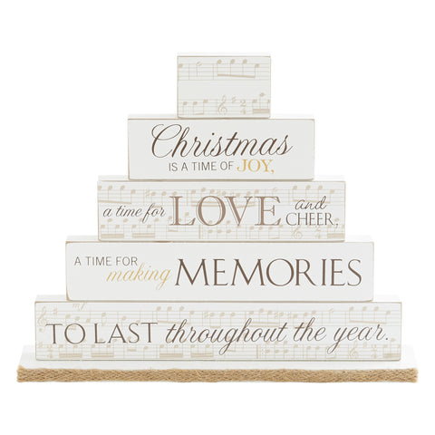 Burlap Christmas Collection Mantel Brick Set Decoration
