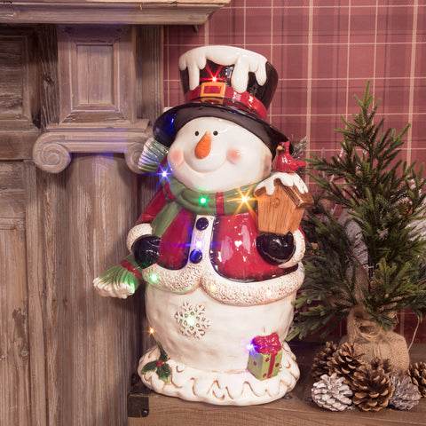 Ceramic Musical Snowman with LED Lights