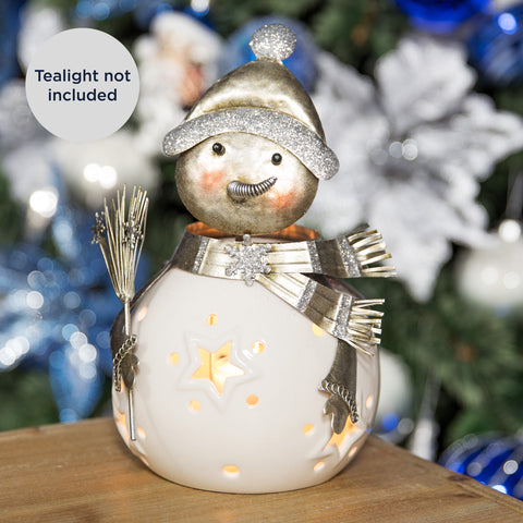 Ceramic Snowman Tea Light Holder 22.5cm