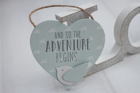 'Petit Cheri' Baby Collection MDF Heart Plaque - Aventure