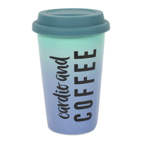 Cardio and Coffee Ceramic Travel Mug