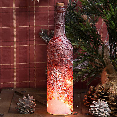 Christmas Decorative Bottle With LED Lights - Frosted Christmas Tree Scene