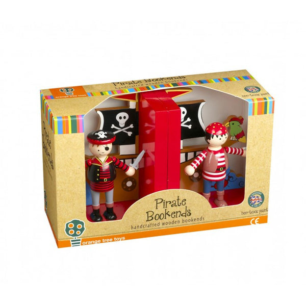 Orange Tree Toys Handcrafted Wooden Bookends - Pirate