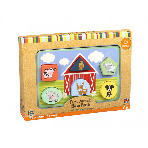 Orange Tree Toys Farm Animal Shape Puzzle Set