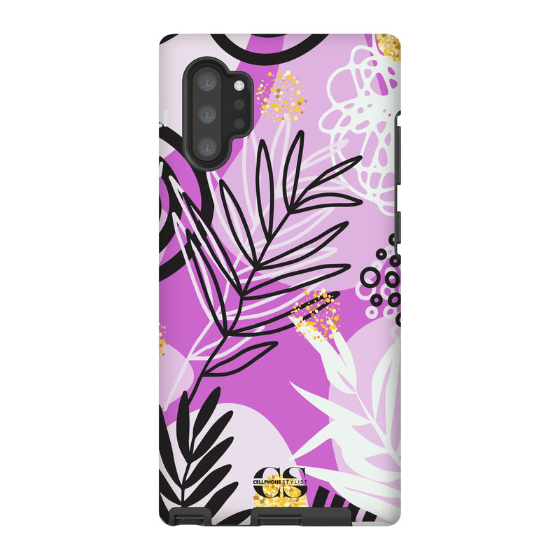 Floral Disco - Purple (Galaxy) - Phone Case Galaxy Note 10 Plus Tough Gloss - Cellphone Stylist