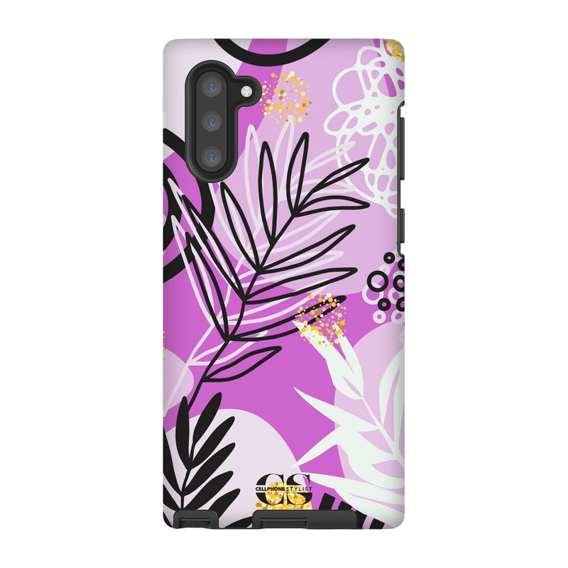 Floral Disco - Purple (Galaxy) - Phone Case Galaxy Note 10 Tough Matte - Cellphone Stylist