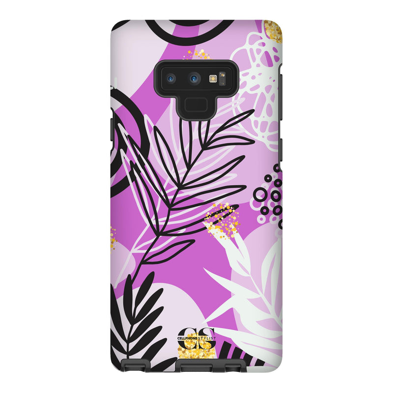 Floral Disco - Purple (Galaxy) - Phone Case Galaxy Note 9 Tough Gloss - Cellphone Stylist