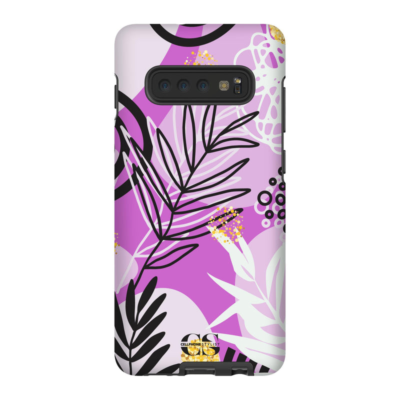 Floral Disco - Purple (Galaxy) - Phone Case Galaxy S10 Plus Tough Gloss - Cellphone Stylist