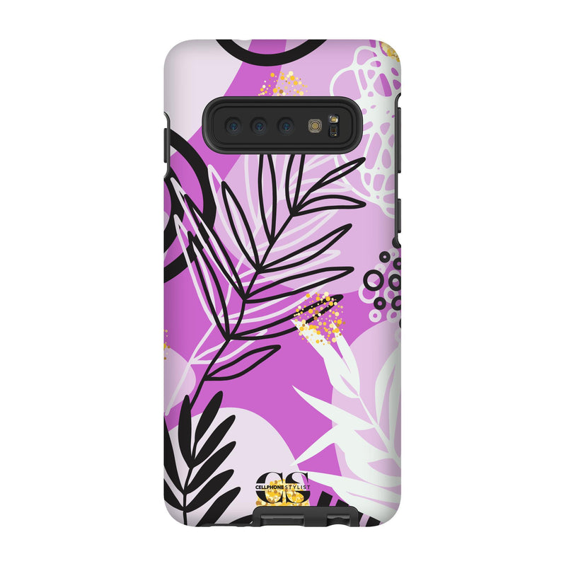 Floral Disco - Purple (Galaxy) - Phone Case Galaxy S10 Tough Gloss - Cellphone Stylist