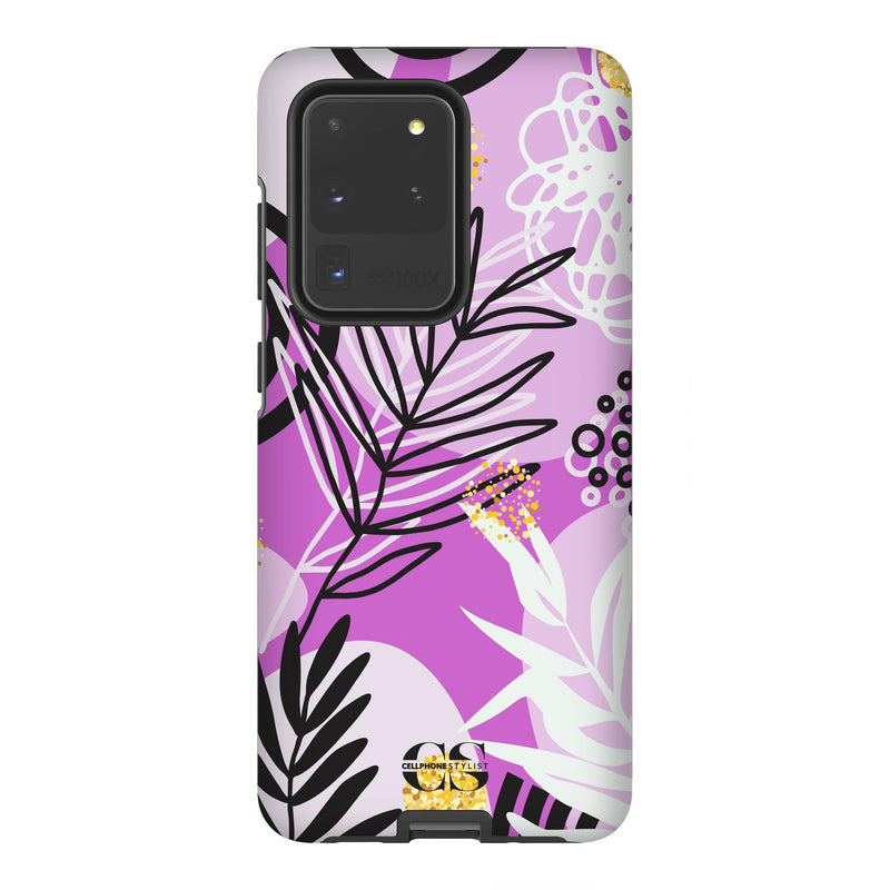 Floral Disco - Purple (Galaxy) - Phone Case Galaxy S20 Ultra Tough Matte - Cellphone Stylist