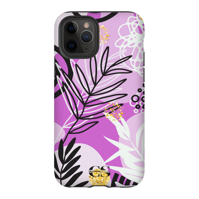 Floral Disco - Purple (iPhone) - Phone Case iPhone 11 Pro Tough Matte - Cellphone Stylist