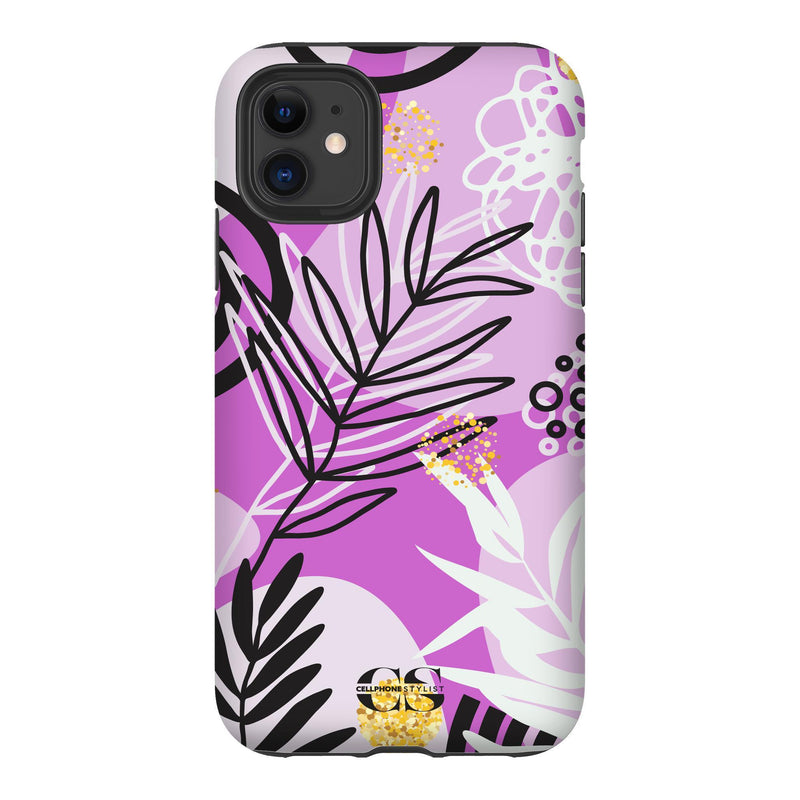 Floral Disco - Purple (iPhone) - Phone Case iPhone 11 Tough Gloss - Cellphone Stylist