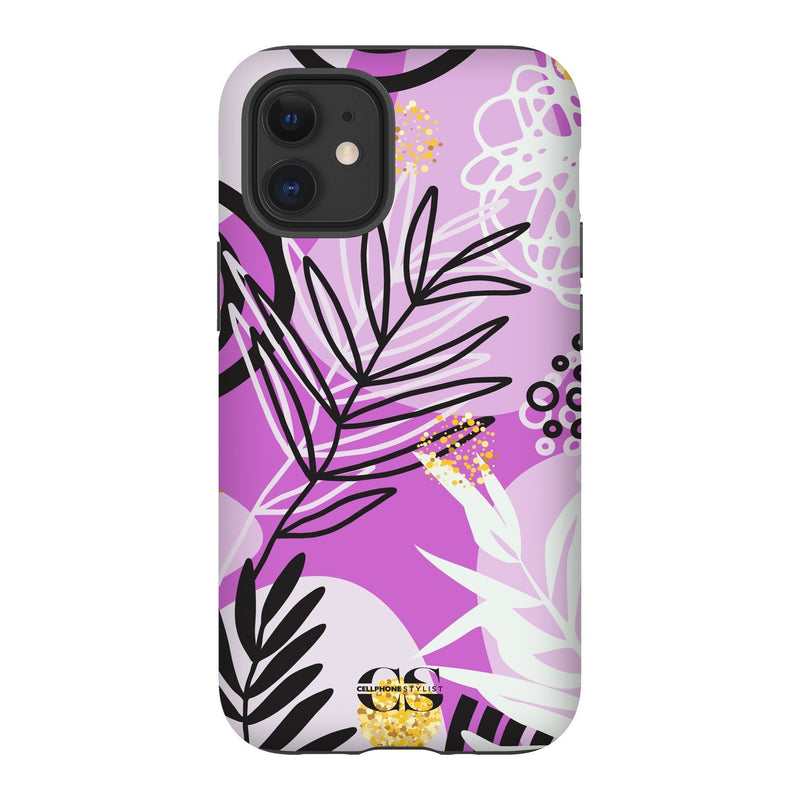 Floral Disco - Purple (iPhone) - Phone Case iPhone 12 Tough Gloss - Cellphone Stylist