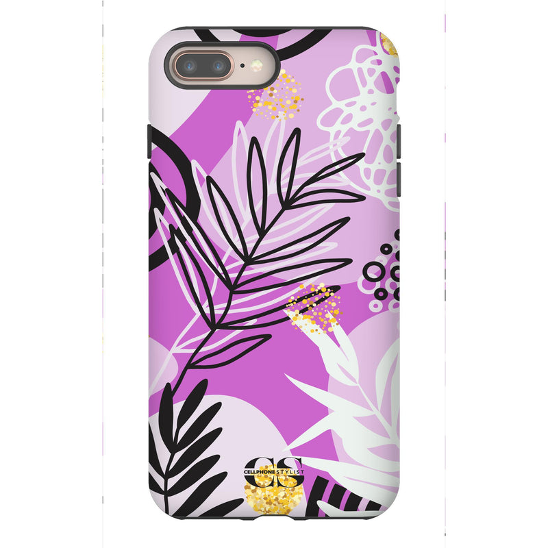 Floral Disco - Purple (iPhone) - Phone Case iPhone 8 Plus Tough Gloss - Cellphone Stylist