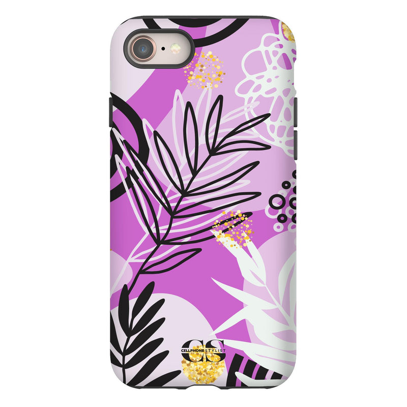 Floral Disco - Purple (iPhone) - Phone Case iPhone 8 Tough Gloss - Cellphone Stylist