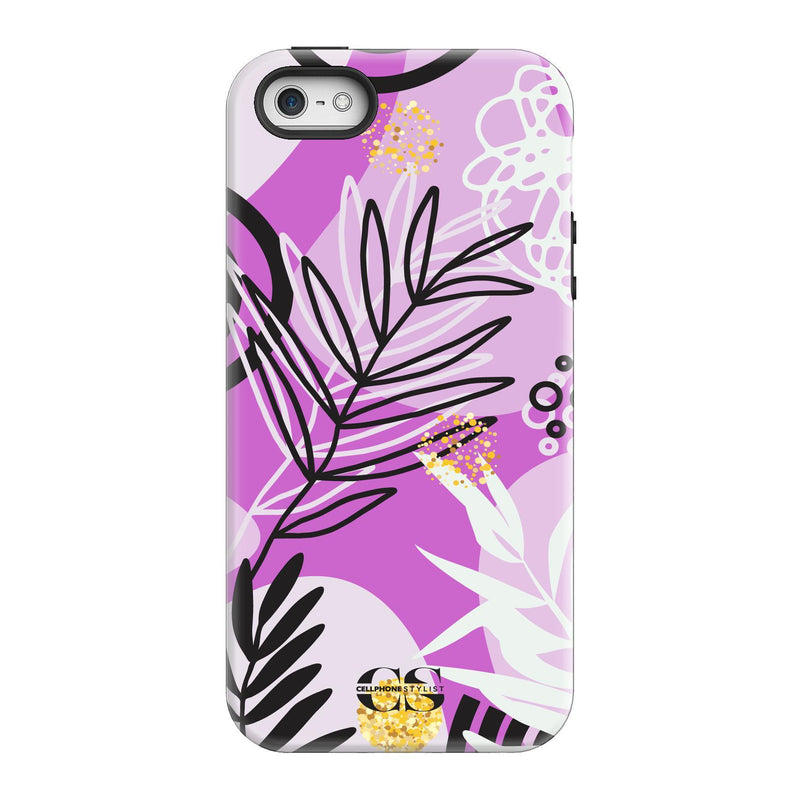 Floral Disco - Purple (iPhone) - Phone Case iPhone SE Tough Gloss - Cellphone Stylist