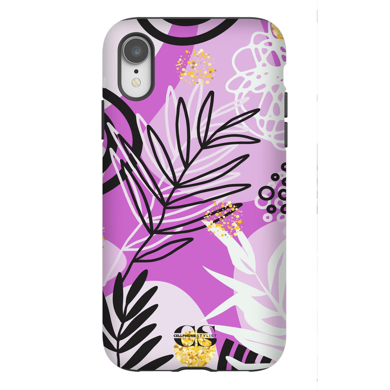 Floral Disco - Purple (iPhone) - Phone Case iPhone XR Tough Gloss - Cellphone Stylist