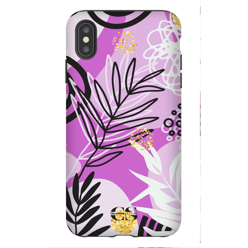 Floral Disco - Purple (iPhone) - Phone Case iPhone XS Max Tough Gloss - Cellphone Stylist