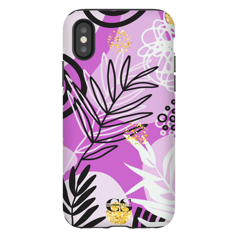 Floral Disco - Purple (iPhone) - Phone Case iPhone XS Tough Gloss - Cellphone Stylist