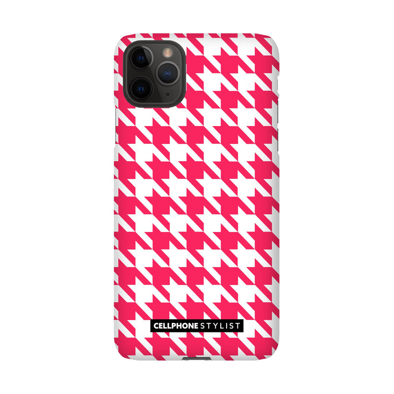 Houndstooth - Pink/White (iPhone) - Phone Case iPhone 11 Pro Max Snap Matte - Cellphone Stylist