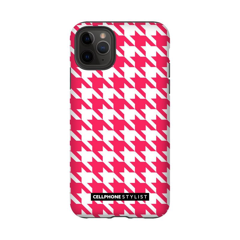 Houndstooth - Pink/White (iPhone) - Phone Case iPhone 11 Pro Max Tough Gloss - Cellphone Stylist