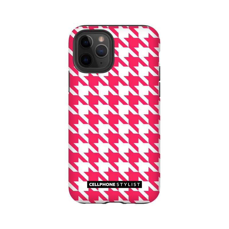 Houndstooth - Pink/White (iPhone) - Phone Case iPhone 11 Pro Tough Matte - Cellphone Stylist