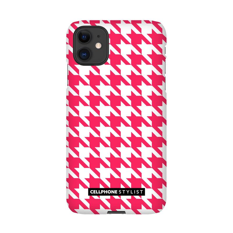 Houndstooth - Pink/White (iPhone) - Phone Case iPhone 11 Snap Matte - Cellphone Stylist
