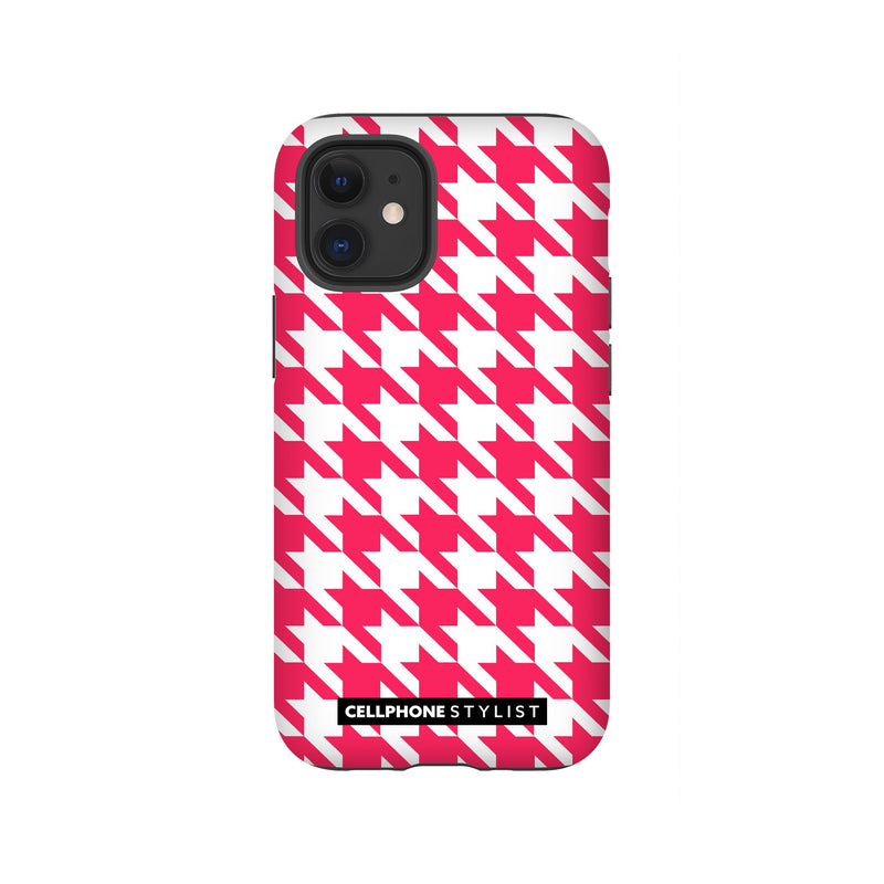 Houndstooth - Pink/White (iPhone) - Phone Case iPhone 12 Mini Tough Matte - Cellphone Stylist