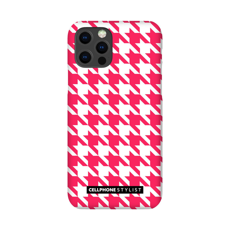 Houndstooth - Pink/White (iPhone) - Phone Case iPhone 12 Pro Snap Matte - Cellphone Stylist