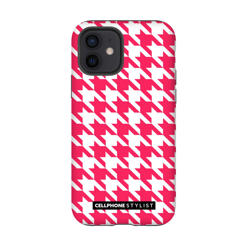 Houndstooth - Pink/White (iPhone) - Phone Case iPhone 12 Tough Matte - Cellphone Stylist