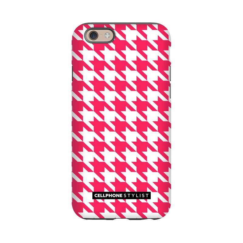Houndstooth - Pink/White (iPhone) - Phone Case iPhone 6 Tough Matte - Cellphone Stylist