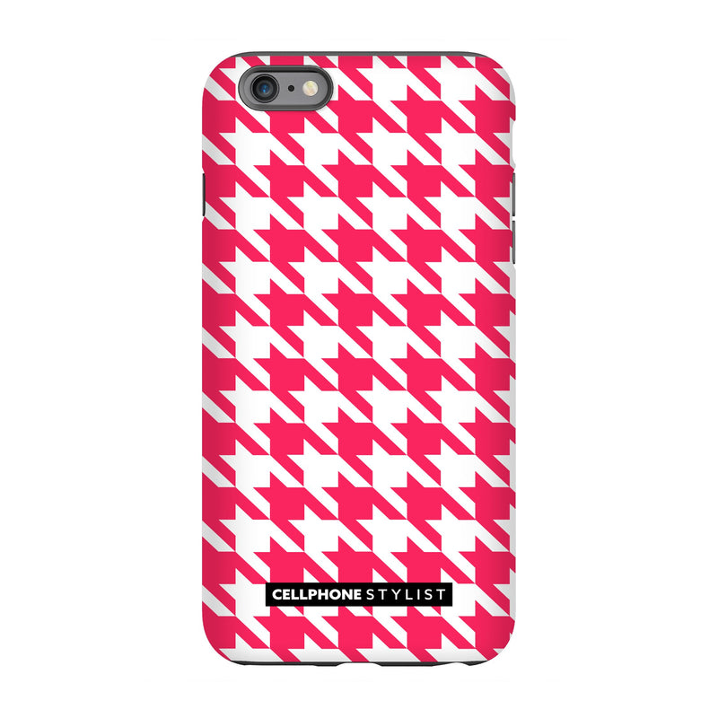 Houndstooth - Pink/White (iPhone) - Phone Case iPhone 6S Pro Tough Gloss - Cellphone Stylist