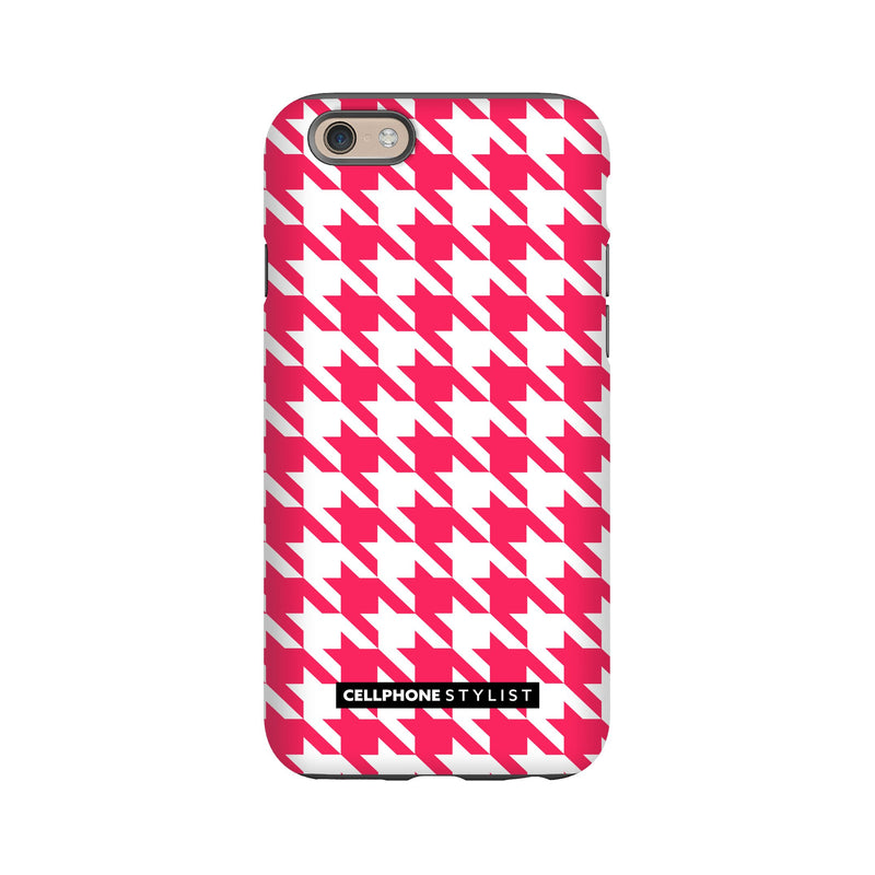 Houndstooth - Pink/White (iPhone) - Phone Case iPhone 6S Tough Matte - Cellphone Stylist