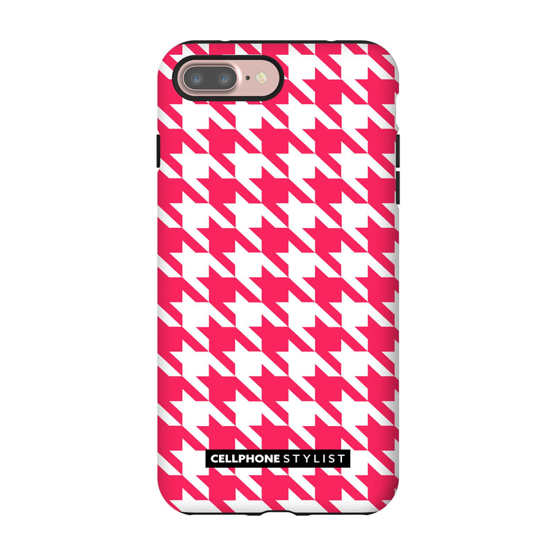 Houndstooth - Pink/White (iPhone) - Phone Case iPhone 7 Pro Tough Matte - Cellphone Stylist