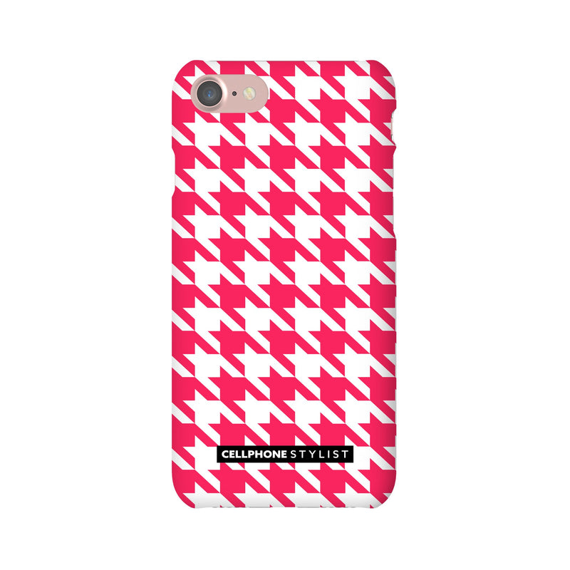 Houndstooth - Pink/White (iPhone) - Phone Case iPhone 7 Snap Matte - Cellphone Stylist