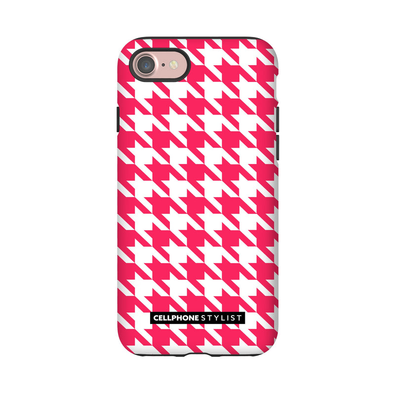 Houndstooth - Pink/White (iPhone) - Phone Case iPhone 7 Tough Gloss - Cellphone Stylist