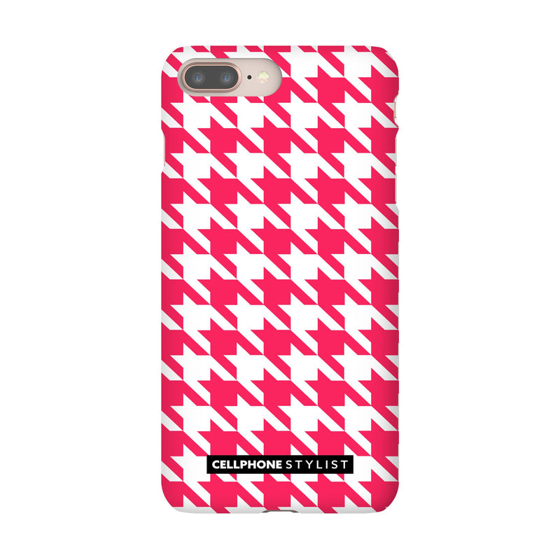 Houndstooth - Pink/White (iPhone) - Phone Case iPhone 8 Plus Snap Gloss - Cellphone Stylist