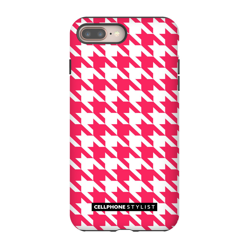 Houndstooth - Pink/White (iPhone) - Phone Case iPhone 8 Plus Tough Matte - Cellphone Stylist