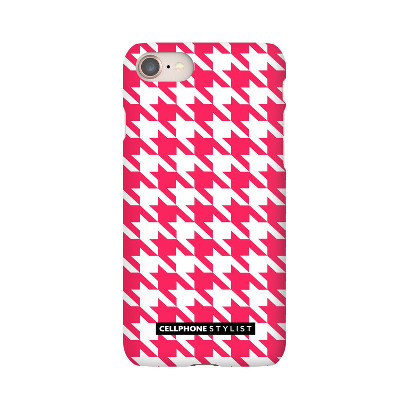 Houndstooth - Pink/White (iPhone) - Phone Case iPhone 8 Snap Matte - Cellphone Stylist