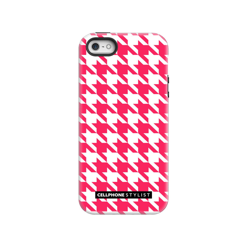 Houndstooth - Pink/White (iPhone) - Phone Case iPhone SE Tough Gloss - Cellphone Stylist