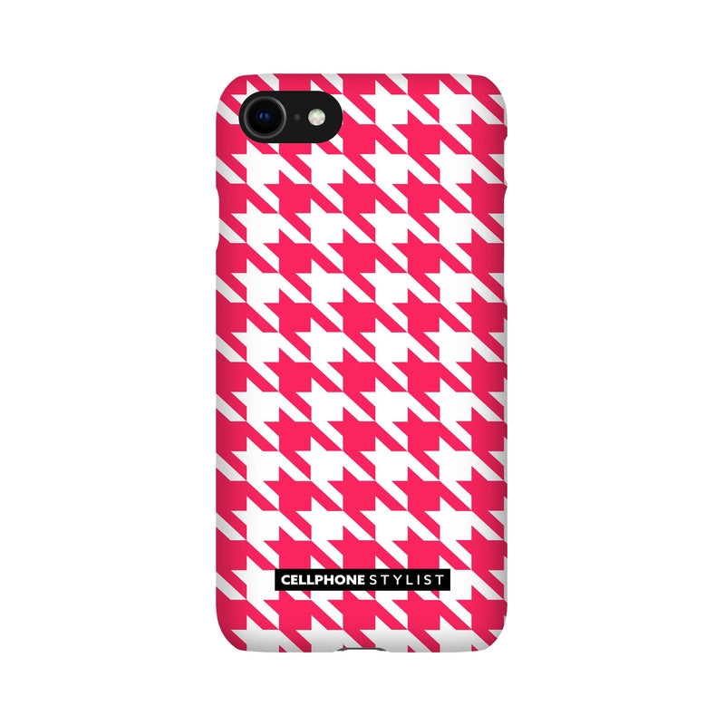 Houndstooth - Pink/White (iPhone) - Phone Case iPhone SE2 Snap Gloss - Cellphone Stylist