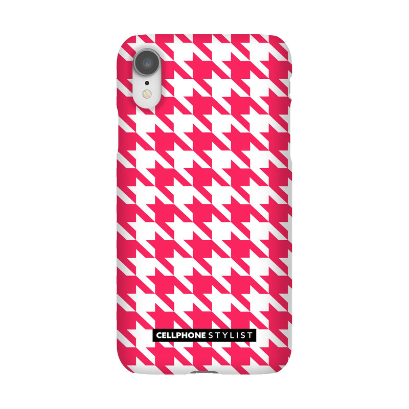 Houndstooth - Pink/White (iPhone) - Phone Case iPhone XR Snap Matte - Cellphone Stylist