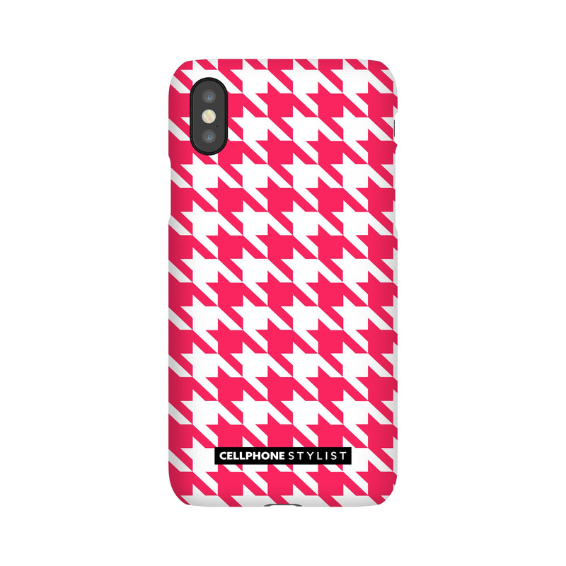 Houndstooth - Pink/White (iPhone) - Phone Case iPhone XS Snap Gloss - Cellphone Stylist