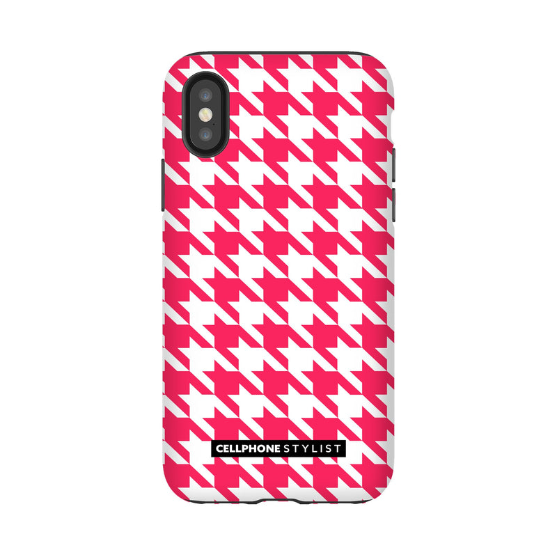 Houndstooth - Pink/White (iPhone) - Phone Case iPhone XS Tough Gloss - Cellphone Stylist