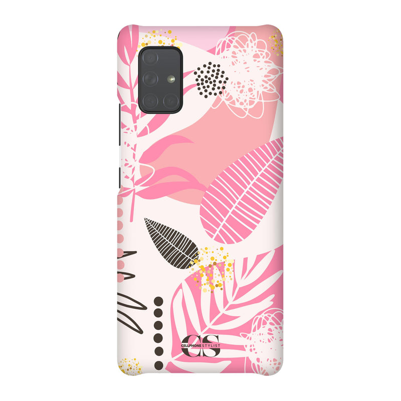 Leaf Me Alone - Pink (Galaxy) - Phone Case Galaxy A71 5G Snap Matte - Cellphone Stylist
