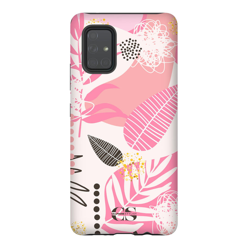 Leaf Me Alone - Pink (Galaxy) - Phone Case Galaxy A71 5G Tough Matte - Cellphone Stylist