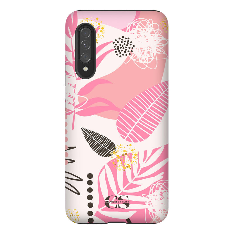 Leaf Me Alone - Pink (Galaxy) - Phone Case Galaxy A90 5G Tough Matte - Cellphone Stylist