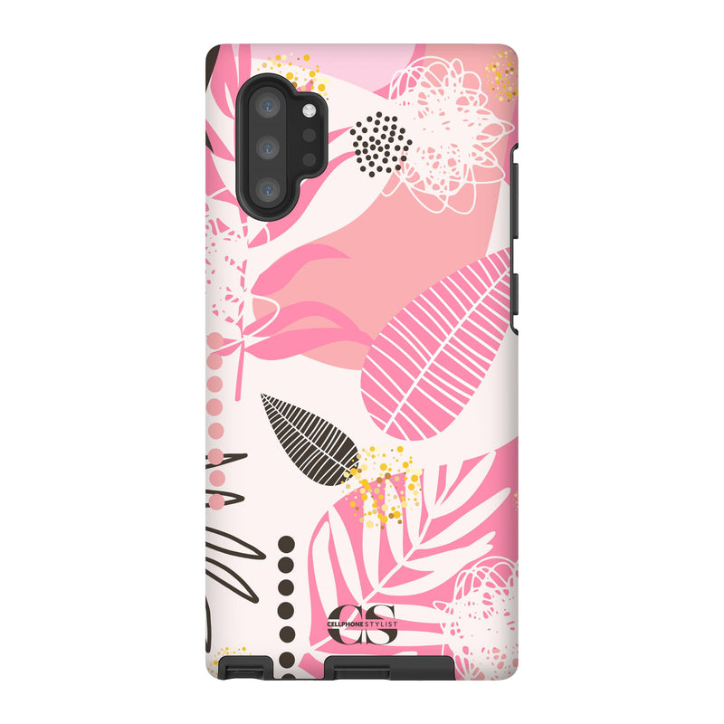 Leaf Me Alone - Pink (Galaxy) - Phone Case Galaxy Note 10 Plus Tough Matte - Cellphone Stylist